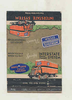 1950's Interstate Motor Freight System Truck Large Matchbook Cover mb2513