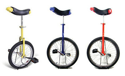 """20"""" Unicycle With Chrome Plated Wheel  (Blue, Red, Yellow)"""