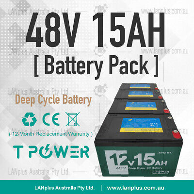 48V 15AH Sealed Lead Acid DEEP CYCLE BATTERY Pack DIY Cable eBike Scooter