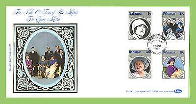 Bahamas 1985 Life and Times of  the Queen Mother set silk First Day Cover