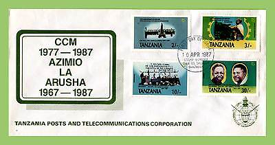 Tanzania 1987 10th Anniv of Chama Cha Mapinduzi Party set First Day Cover
