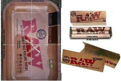 RAW 79mm ROLLING MACHINE+1 1/4 Papers+Vintage Style METAL 7x11 Tray+SCOOP CARD