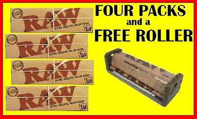 4 packs RAW 1.25 rolling papers+ Hemp plastic rolling machine FREE FAST SHIPPING