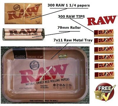 RAW Metal 7x11 Rolling Tray RAW 300's 1.25 cigarette papers 300 tips 79mm Roller