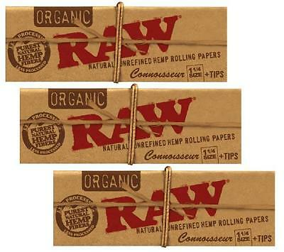3 PKS of RAW 1 1/4 size CONNOISSEUR ORGANIC Hemp Rolling Papers with Tips vegan