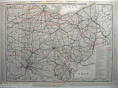 1894 OHIO RailRoad Map LAKE ERIE Columbus * LARGE & DETAILED uncommon MUST SEE!