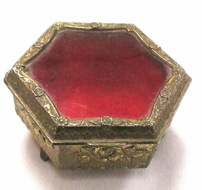 Vintage Hexagon Shaped Brass Plated Trinket Box With Glass Top Made In Japan **