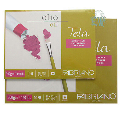 """Fabriano Tela Oil Painting Paper Block 12""""x16"""" (30x40cm)10 Sheets Canvas Texture"""
