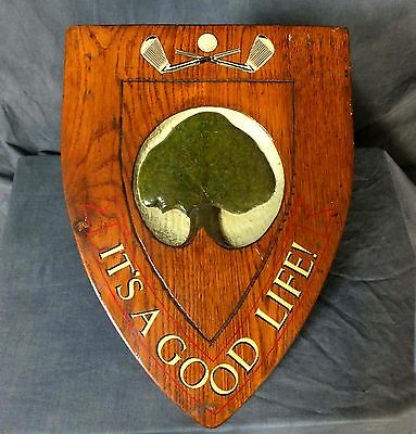 Great Early to mid 20th. Century carved & painted oak Golf Club sign.