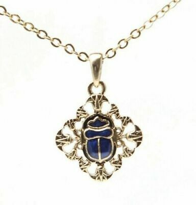 Mystica Fashion Egyptian Scarab Gem Necklace Amulet Alloy Gold Tone