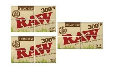 3 packs RAW 300 ORGANIC Natural unrefined Hemp Rolling paper 1 1/4 - 900 papers