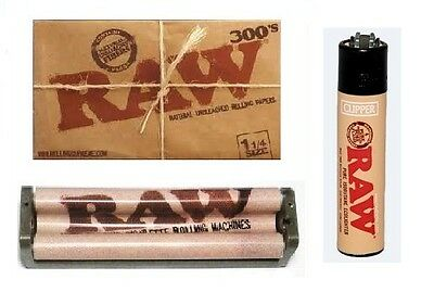 RAW 300 1 1/4 UNBLEACHED Rolling Papers,79mm Hemp Cigarette Machine+RAW LIGHTER