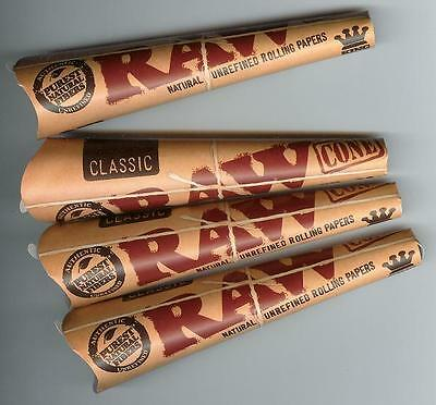 RAW PRE-ROLLED Classic King Size CONES 4 packs/3 per pk = ONE DOZEN CONES TOTAL
