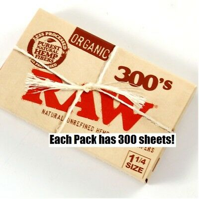RAW 300's ORGANIC HEMP Natural unbleached Cigarette Rolling Papers 1 1/4 Size