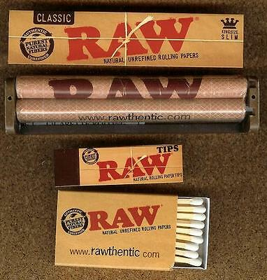 RAW ROLLING RYO BUNDLE 32 King Size Slim Papers+110mm Roller+50 TIPS and MATCHES