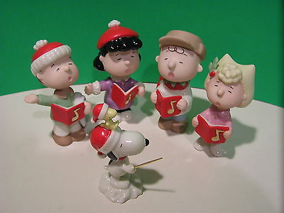 LENOX PEANUTS CHRISTMAS CAROLING SET NEW in BOX w/COA 5 piece Snoopy Lucy Linus