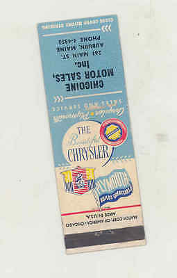 1949 Chicoine Chrysler Plymouth Automobile Matchbook Cover Auburn ME mb1686
