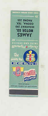 1949 ? James Dodge Plymouth Automobile Dealer Matchbook Ozona TX mb1741
