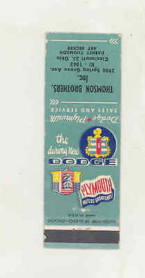 1949 Thomson Dodge Plymouth Automobile Matchbook Cover Cincinnati OH mb1748