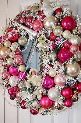 """Shabby Cottage Chic Vintage Ornament Wreath Christmas Pink Silver Sugar Bell 27"""""""