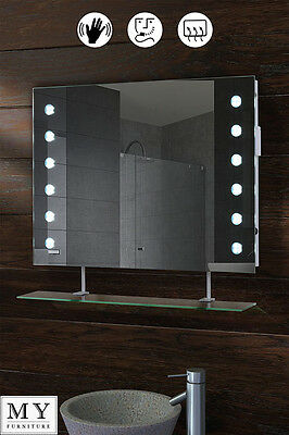 Led Illuminated Bathroom Mirror With Shelf Demister Shaver Sensor - Reflex-Ws
