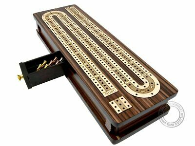 "Continuous Cribbage Board / Box inlaid in Rosewood / Maple 12"" - 3 Tracks"