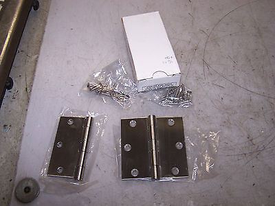 New 1 Pair Stainless Steel Door Hinges Loose Pin Flat Button Tip Ss-Ta100Us32D
