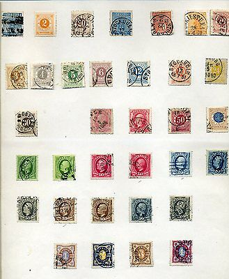 1855-1940 Sweden oldtime stock on pages, nice postmarks