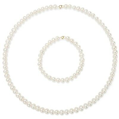 DaVonna Children's 14k Gold Freshwater Pearl Necklace and Bracelet Set (4-4.5mm/
