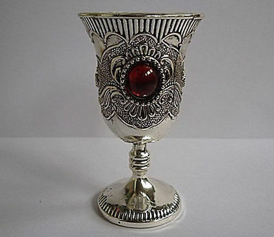 Orient Old Collectibles Handwork Tibet- Silver & White Copper Inlay Bead Goblet