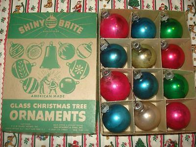Vintage Shiny Brite Ornaments Set 12 Multi-Colored WWII 1940s Christmas Mercury
