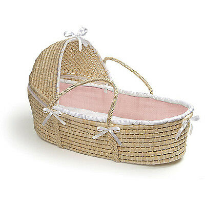 Natural Moses Basket with Pink Waffle Bedding