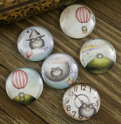 6pcs Glass Owl Journey Round Cameo Cabochon 25mm