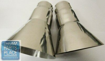 """1968-72 Oldsmobile Cutlass / 442 Trumpet Tail Pipe Extensions Pr Stainless- 2"""" 3"""