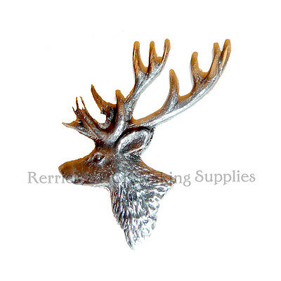 ONE PEWTER BADGE FOR WALKING STICK MAKING STANDING STAG HEAD ( Ref PP )