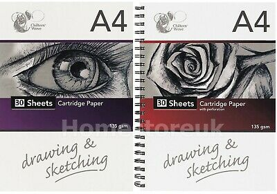 A4 Drawing Sketching Sketch White Paper 40 Sheets 135Gsm Cartridge Artists Pad