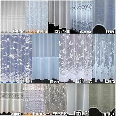 CHEAP LUXURY VOILE NET CURTAINS SLOT TOP ~ PLAIN & FLORAL  - Sold by the Meter