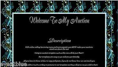 Animated Blue and Green Art Deco Butterflies Auction Template