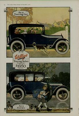 1916 WILLYS KNIGHT OVERLAND 2-PAGE CAR AUTO AD / TOURING SEDAN MODEL 88-4