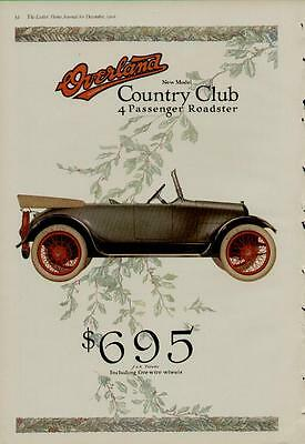 1916 WILLYS OVERLAND 2-PAGE CAR AUTO AD / COUNTRY CLUB 4 PASSENGER ROADSTER