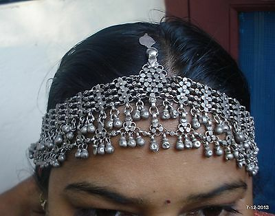 vintage antique tribal old silver hair jewelry tika head ornament bellydance