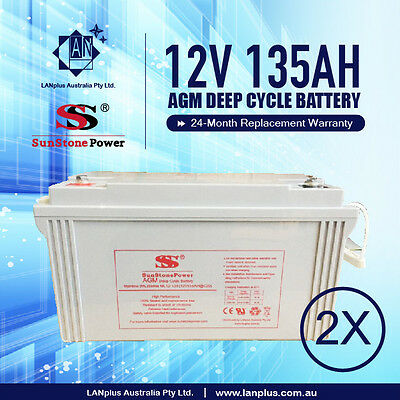 2 X NEW 12V 135AH SLA AGM DEEP CYCLE BATTERY 4 Solar Fridge Caravan Camp 38kg