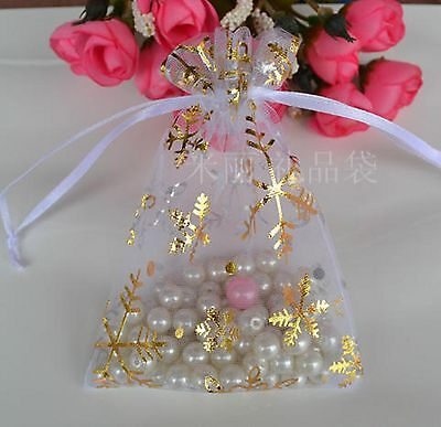 10pcs Christmas Gold Wedding Gift Jewellery Favors white Bag Organizer 10*9cm