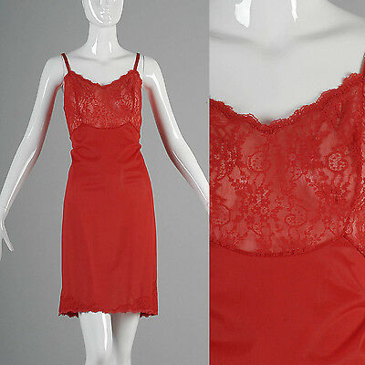 VTG 60s Bright Lipstick Red Full Slip Lace Bust Van Raalet Sheer Lace Bust 38