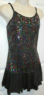 NWT Sequin Camisole ruffle hem dress complete leotard under dress child/ladies