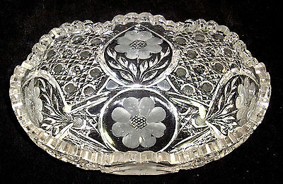 """ABP oval heavy cut glass bowl  8 3/4 """" long  in good condition"""