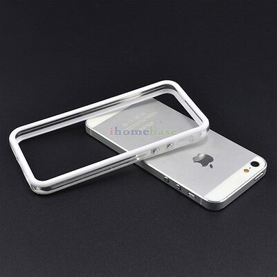 New White/Clear TPU Silicone Bumper Frame Case W/ Metal Buttons for iPhone 5 5S