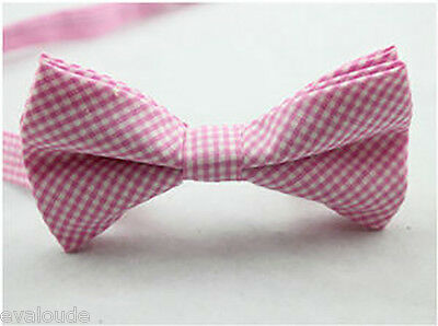MENS Luxury 2 Layer Baby Pink White Diagonal Gingham Check Dickie Bow Tie Ties