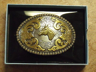Nocona Oval Berry Edge/Horse Head Western Belt Buckle