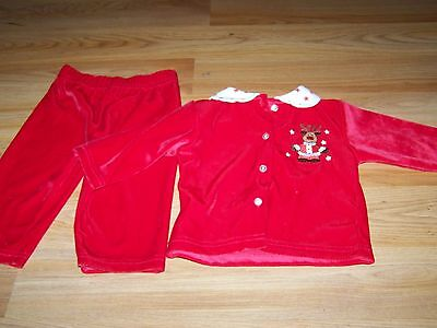 Size 6-9 Months Holiday Outfit Red Velour Top & Pants Rudolph Reindeer Christmas
